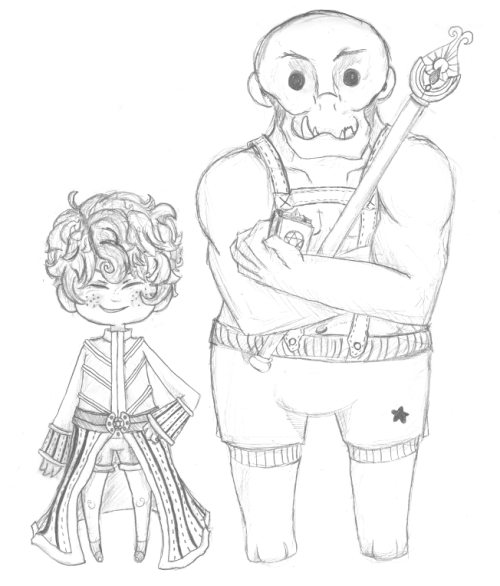 My Sage and his 'pet' orc Walter. It was hard trying to simplify an orc.