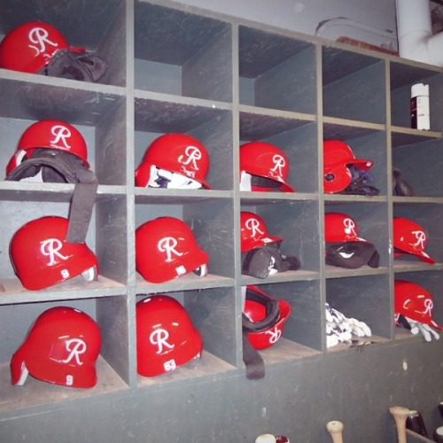 Throwback helmets of the Seattle Rainiers await use before Saturday's game at Safeco Field.