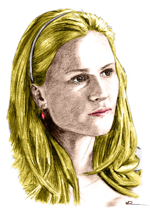 Sookie Stackhouse (Anna Paquin). Dark charcoal pencil over medium vine charcoal. Colour applied in photoshop.