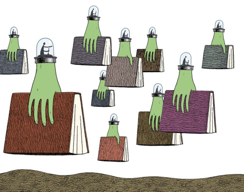 Alien invasion readers / Invasión alienígena de lectores (ilustración de Tom Gauld)