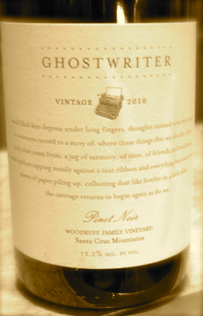 I'm afraid of no Ghost! 2010 Ghostwriter Pinot Noir Woodruff Family Vineyard Santa Cruz Mountains. So classy! Seductive and very refined! Drinks like top Chambolle-Musigny!