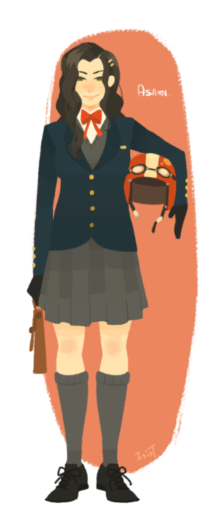 bryankonietzko:  polapaz321:  Asami-student uniform I love uniform!!!!!!!!!!!!!!!!!!!!!  Incredible! The '60s color palette in this work is so good.