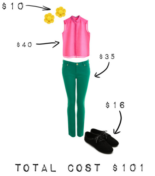 Untitled #5 by spotojessica featuring green jeansPink silk blouse, $40Miss Selfridge green jeans, $35Ballet heels, $16Pieces stud earrings, $10