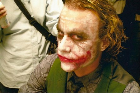 An unreleased (until now) pic of Heath Ledger as the Joker. More to come.