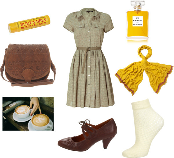 Coffee Date by polyvoir featuring nylon socksMulberry full skirt dress, $875Nylon socks, $8Indigo by Clarks mid heel pumps, $48Vanessa Bruno Athé leather shoulder bag, $284Joules viscose scarve, £30Fragrance, $85Burt s Bees lip treatment