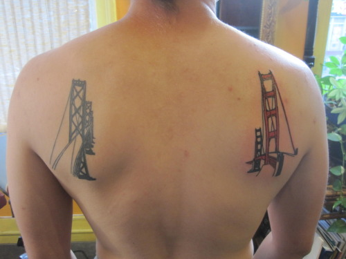 Hello. I have bridges on my shoulderblades. (Done by Jason Stein at Cyclops Tattoo, Mission District.)
