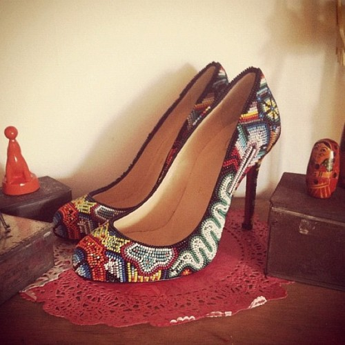 #ChristianLouboutin heels with colorful beads! #2012 collections, 😍😘💋 #fashion (Taken with instagram)