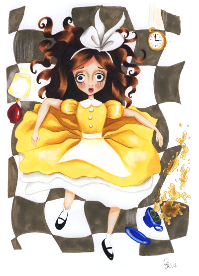 "Did you know that the ""real"" Alice had brown hair & a yellow dress?"