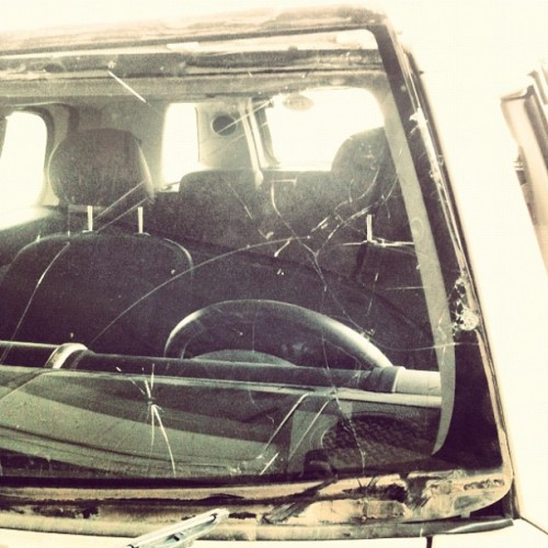 beaten and battle scarred #glass #windshield #Kuwait #prettyhatemachine  (Taken with Instagram at الميلم لزجاج السيارات)