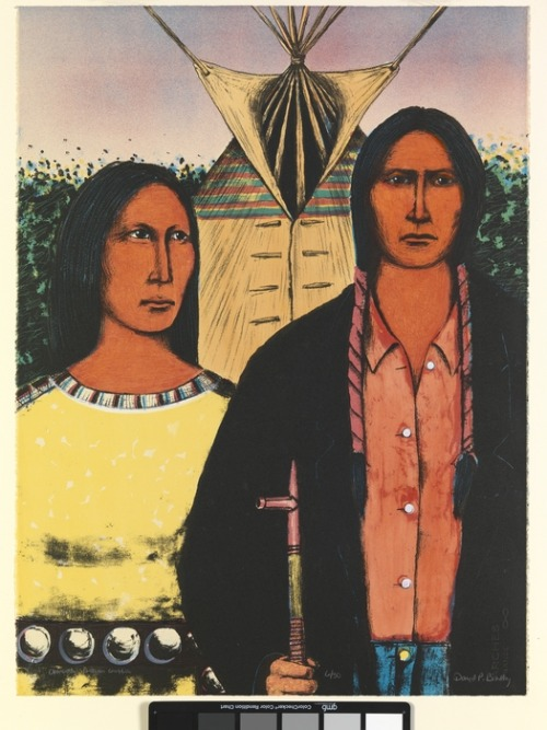 David Bradley (Chippewa/Ojibwe/Lakota) Indian Gothic Lithograph print 1983