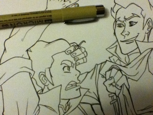 keyshakitty:  Continuing to ink the collaboration Jak and I are doing of Mako and Bolin.I will be marker colouring this on livestream this coming Wednesday (which will make it a Tuesday night for those in Canada/States).  I've never done a livestream before so hopefully it will be fun.I hear Jakface plans to troll the whole thing too. :U  I SURE DO!