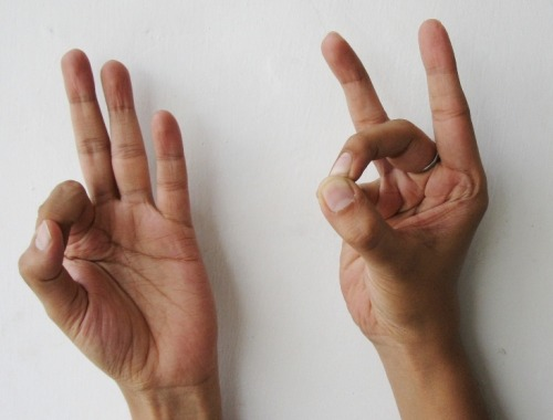 "Back Mudra – for relieving back pain Back Mudra works effectively for people with weak back.  Back Mudra comes to rescue if you have strained your back after a prolonged activity like cleaning or sitting day long in a wrong posture. Right hand: The thumb, middle finger, and little finger will be in contact, the other fingers will remain extended. Left hand: Place your thumb joint on the nail of your index finger. Do this mudra for 4 to 5 minutes thrice a day. Backaches are caused by variety of reasons. It is necessary to take care and work on these causes to permanently get rid of back pain. Constipation and flatulence is one of the causes. Weak abdominal muscles aggravate back pain. Plank pose, leg lifts, cycle lifts and other yogic exercises strengthens the abdominal muscles. Poor posture and bad alignment causes pain and inflammation. So, take care of your posture.  Also check your mattress. It should have good hardness. Stress, insomnia and fear should be managed and minimized. Affirmation while doing the mudra: ""My back is protected and strong. My muscles are strong. The soreness in my back is diminishing. It will vanish by doing Back Mudra."""