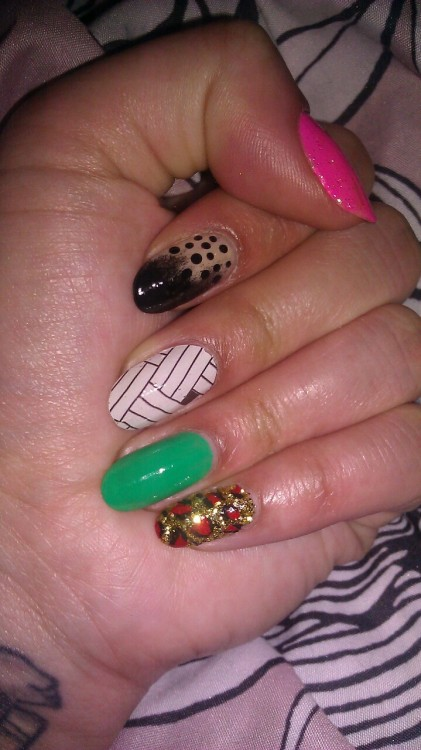 I did all designs by myself except middle finger is a nail tattoo.