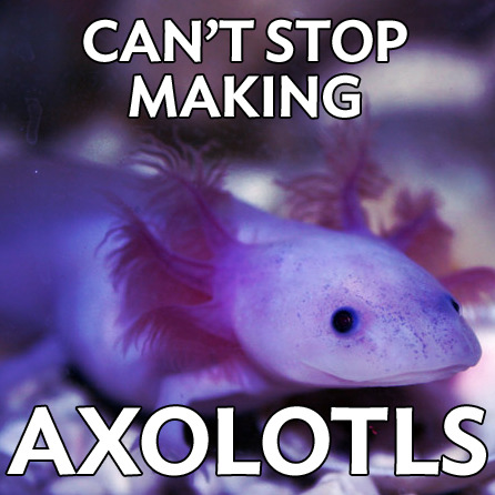 autisticaxolotl:    [Autistic Axolotl: an image of an axolotl with the caption 'Can't stop making axolotls.']