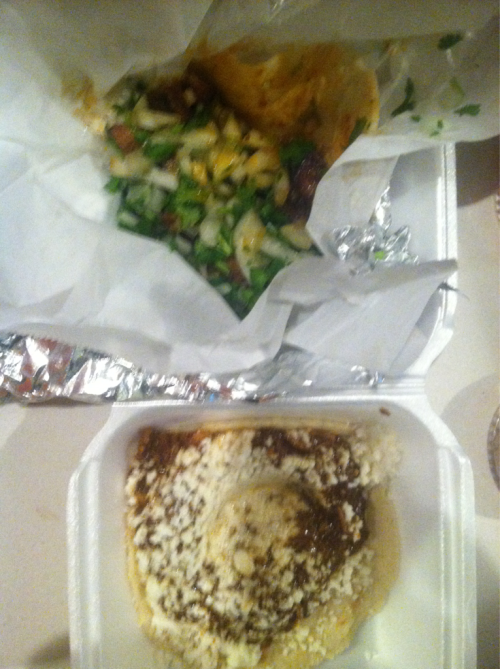 Pinches tacos. Sunset and havenhurst dr. 1 pollo mole, 1 al pastor. $5.44. Free lime and hot sauce. Mole incredible, pastor good but not amazing… Needed the sauce the sauce that came with it. Good tacos. Caveat: a bit drunk.