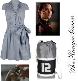 The Hunger Games by shilky featuring vintage dressesAllSaints vintage dress, $120newburycomics.com - The Hunger Games - District 12 Replica Arena Bag, $23