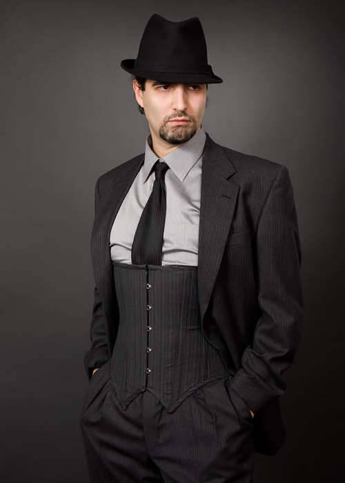 Three-piece suit with a corset? Awesome.