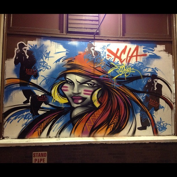 One of the reason's I luv my City. The streets are museums! #nyc #graffiti #street art #streetartproject #hankoneal #toofly #xcia #strand (Taken with instagram)