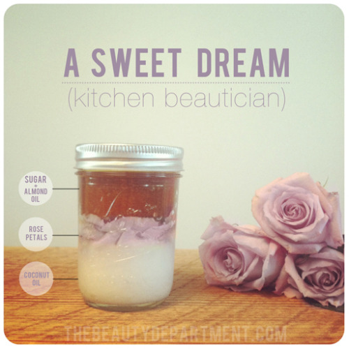 scissorsandthread:  Coconut & Rose Body Scrub | The Beauty Department This might be the most perfect beauty gift to give someone that I've seen in ages! Once you've layered your ingredients, the giftee (or you!) smushes it all up before rubbing it on. The coconut oil is at the bottom of the jar and looks 'solid' at room temperature. On top of that they have layered rose petals, then raw sugar and finally super moisturising jojoba oil!