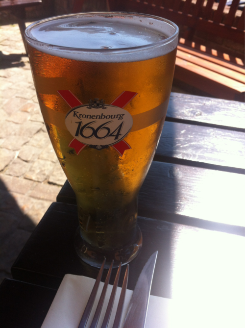 Having a Kronenbourg at The Cross Keys pub in Great Missenden. Another beautiful day in the UK.
