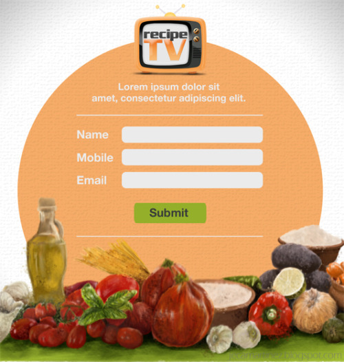 Online sign-up form design for Recipe TV Read more about this and some of the stuff I've done for OJT here :)