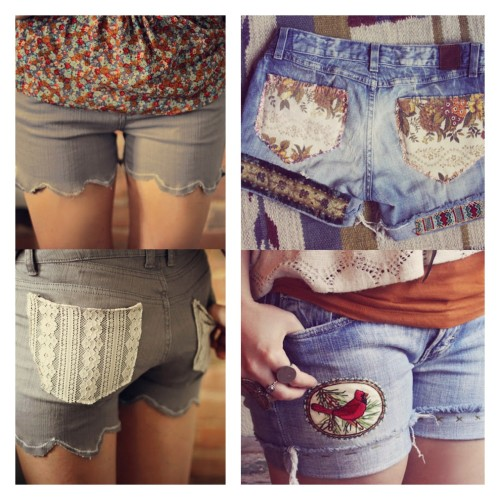 truebluemeandyou:  DIY Two Embellished Shorts Tutorials. I'm grouping these together because Laura at Violet Bella was inspired by Kinsey's (of Sincerely, Kinsey) lace pocket DIY shorts. Photo Left: DIY lace pocket shorts with scalloped edge tutorial by Sincerely, Kinsey here, Photo Right: fabric pockets, embroidery, and patches DIY by Violet Bella here.