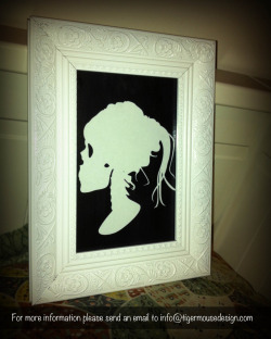 Lolita Skull Silhouette Portrait Order Code: LSSP01 Pricing to be announced (or just email me if you would really like to order and I can try to figure something out)  Shipping available in Australia A different kind of artwork for your home, work or bedroom. This Lolita Skull Silhouette Portrait is made of paper and placed on a black painted background. Keep an eye out for more creative designs!