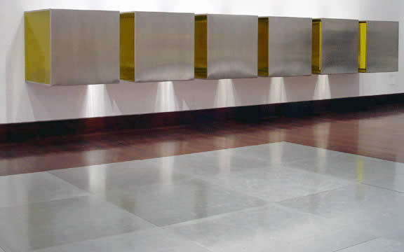 Untitled, by Donald Judd, 1966 , Stainless steel and yellow Plexiglas