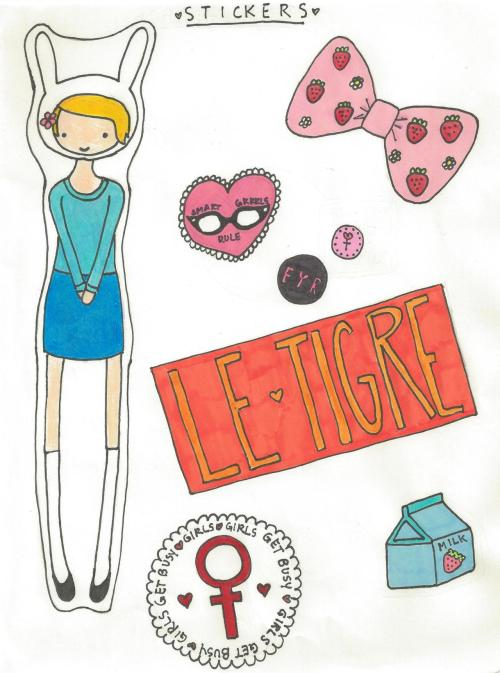 girlsgetbusyzine:  thelovelanguage: the last sticker sheet i've made, for now i'll probably do some more this summer now that i've got a lovely new set of permanent markers ◕ ◡ ◕ if you want to make real stickers out of these you can print them out and stick them to things with mod podge (which is just watered-down glue if you don't have any actual mod podge)   You can also make your own sticker paste: 1 Package (1/4oz) unflavored gelatin 1 TBSP cold water 3 TBSP hot water 1/2 tsp sugar Sprinkle gelatin into cold water and let soften for 5 minutes. Pour in hot water and stir until dissolved.  Add sugar and stir well. Using a brush, paint the back of the paper with the gelatin solution (it works best if you lay it on thick).  Let dry. Flatten sheet under a heavy book.  Cut out stickers. Lick and stick! (recipe taken from The Guerrilla Art Kit by Keri Smith)