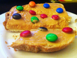 Melted peanut butter and M&M on toast