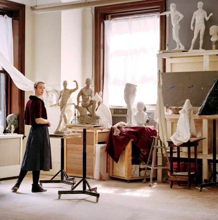 artistandstudio:  Sculptress Abigail Tulis in the Grand Central Academy.   Photograph by Jonathan Becker.