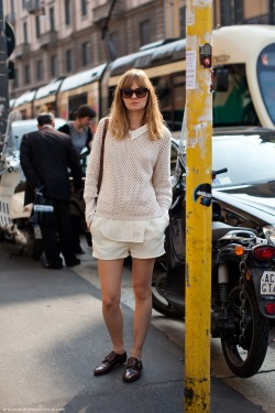 love the layer and loafers! via stockholm streetstyle
