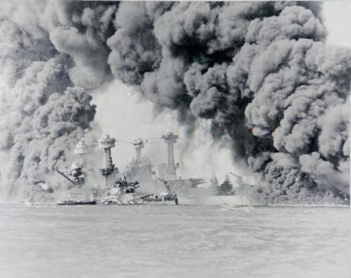 Pearl Harbor on December 8th, 1941. This is the USS Tennessee.