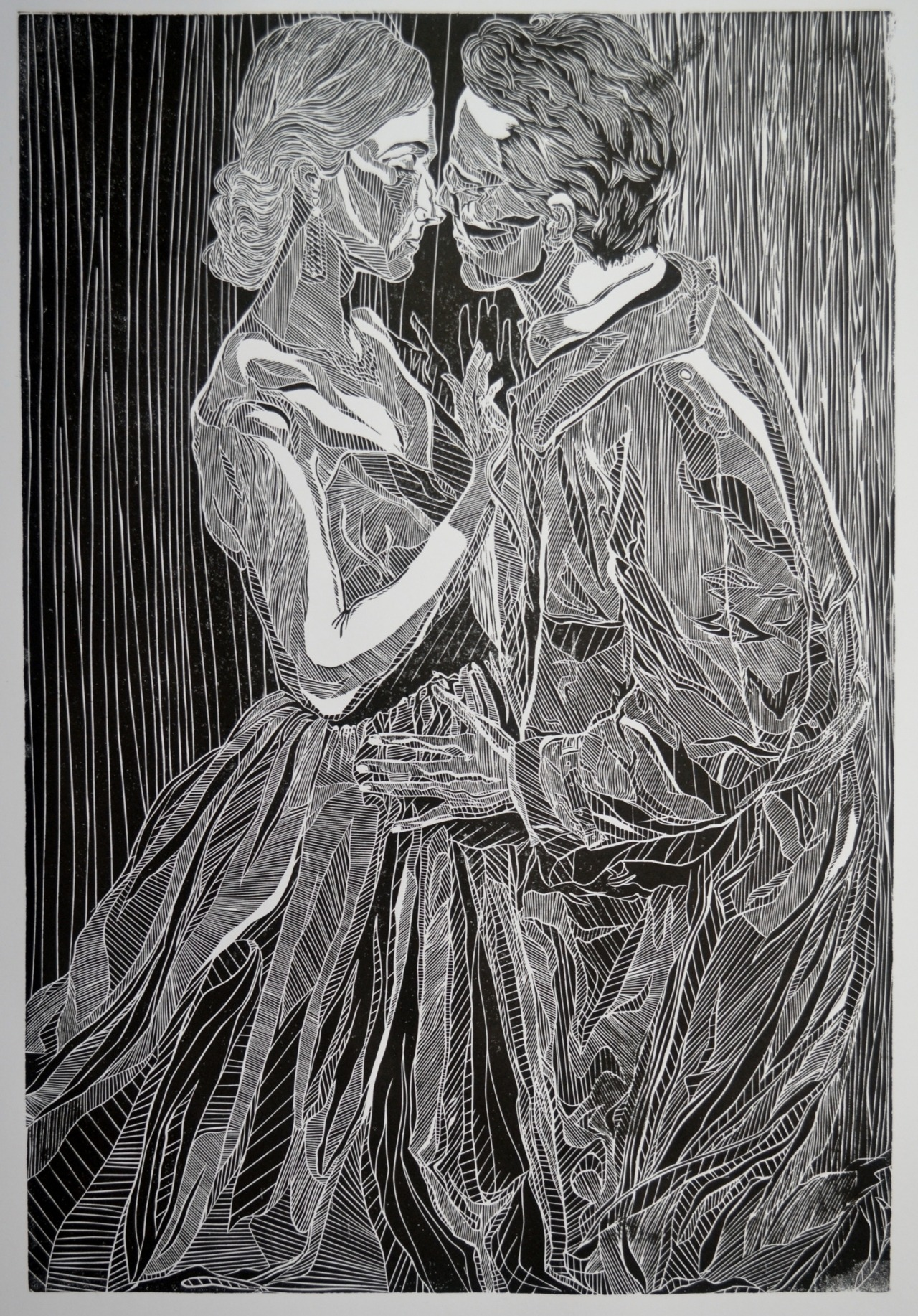 A linocut of Posthumus and Imogen in a production of Shakespeare's 'Cymbeline' More of my art at: http://bluerose99.tumblr.com/