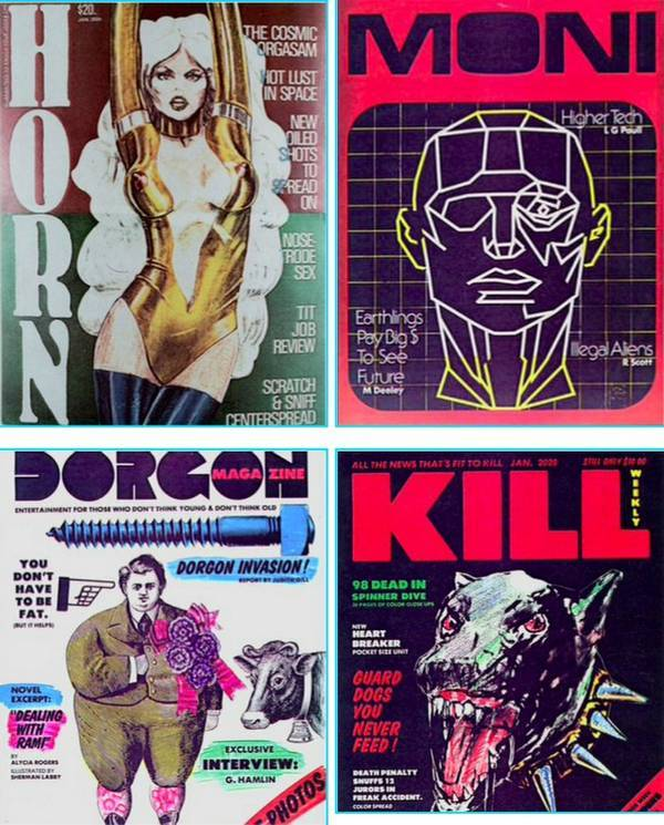 A collection of humorous, futuristic magazines displayed in the background of the news-stand scene in Blade Runner — documented in Future Noir: The Making of Blade Runner by Paul M. Sammon. (via Magazines from Blade Runner - Boing Boing)