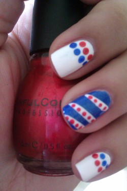 pink-obsession:  Memorial Day nails: Pure Ice Super Star, Sinful Colors Under 18, Sinful Colors Blue By You.