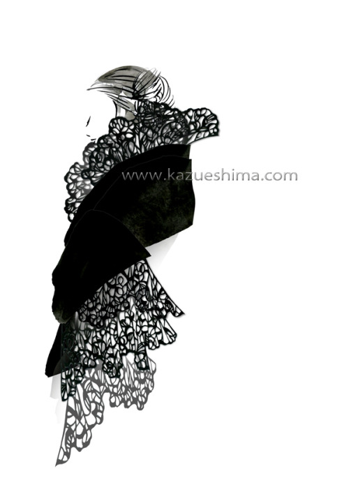 I cut paper, beautiful black lace. I designed this dress, focusing the form and line.The combination of black and lace is my eternal theme,and it let me imagine lots of stories and scenes as fashion illustration.I'll chase to find the unique paper work in the future. Lovely Cutting Paper and Fashion.(Material: color ink, photoshop, paper and cutter)