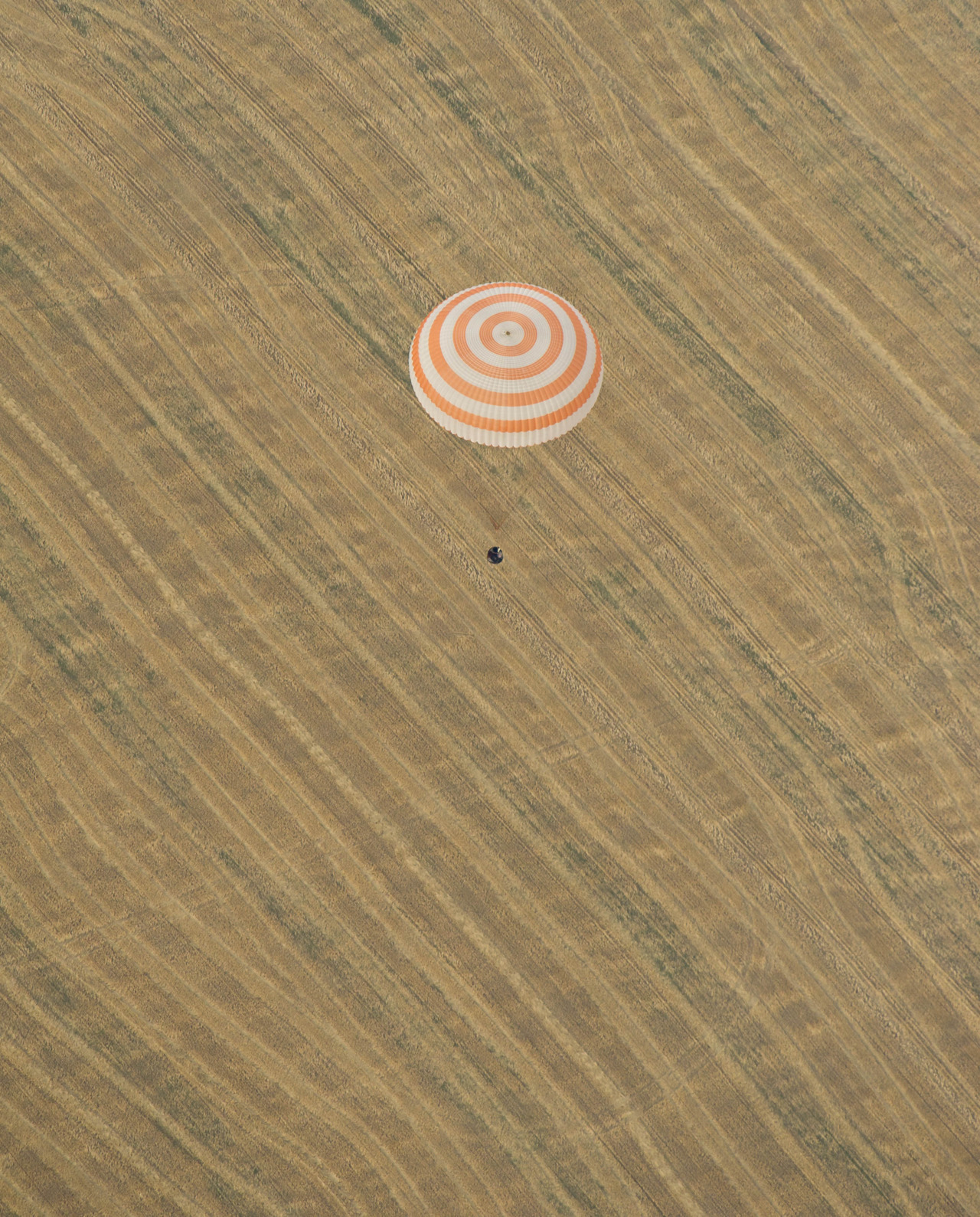 The Soyuz TMA-22 spacecraft is seen as it lands with Expedition 30 Commander Dan Burbank, and Flight Engineers Anton Shkaplerov and Anatoly Ivanishin in a remote area outside of the town of Arkalyk, Kazakhstan, on Friday, April 27, 2012. NASA Astronaut Burbank, Russian Cosmonauts Shkaplerov and Ivanishin are returning from more than five months onboard the International Space Station where they served as members of the Expedition 29 and 30 crews. Photo by Carla Cioffi.