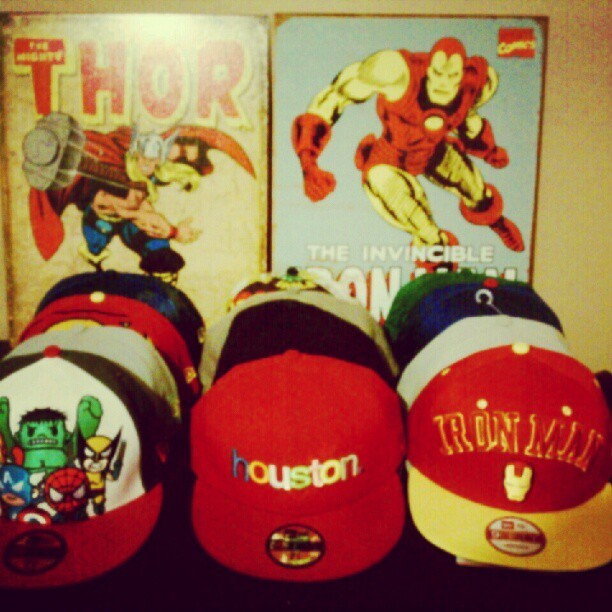 fanaticalmind:  The collection. #59Fifty #marvel #dc #Houston #ironman #tokidoki #superman #batman  (Taken with instagram)