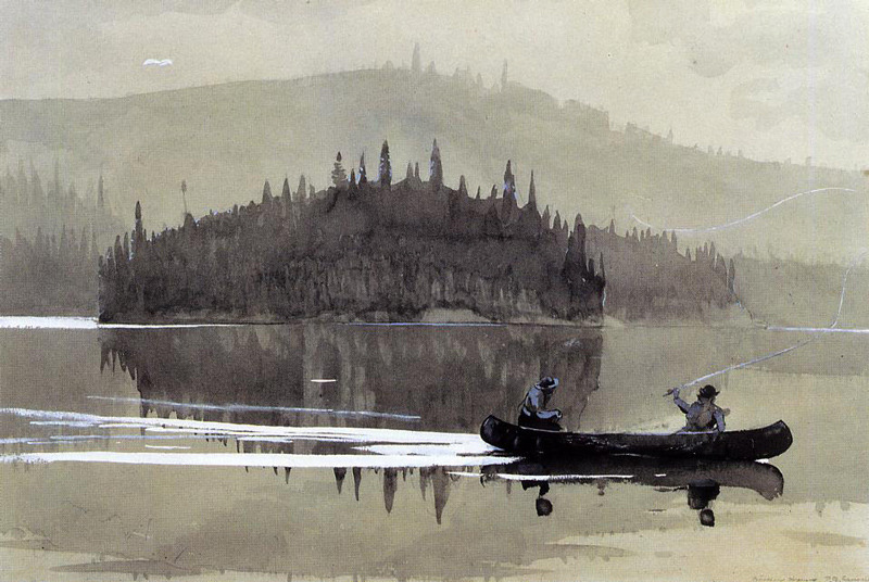 Winslow Homer(American, 1836-1910), Two Men in a Canoe, 1895, Watercolor