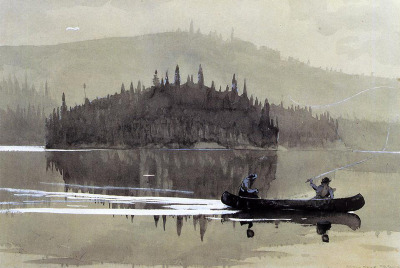 iamjapanese:  Winslow Homer(American, 1836-1910), Two Men in a Canoe, 1895, Watercolor
