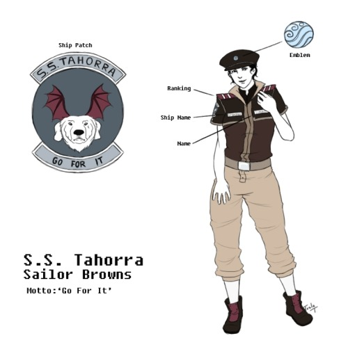 tesla-terenti:  Attention Sassy Sailors of the S.S. Tahorra: Your uniforms are complete and note that each will come with a Wolfbat batwing cape to be worn on special occasions (not seen here because the designer is a lazy bastard). Oh baby this took a lot longer to finish than it should have. I had it open on Photoshop for the past week but LOLPROCRASTINATING. Tried to add more blue to the mix but the browns and purples wouldn't have any of it. Note that the white gap between the pants and shoes are actually white stockings (or long socks?). Uniforms for the S.S. Amorra will be designed next and hopefully I won't take as long. Then I'll probably redraw the Borra uniform but it won't be changed design-wise.