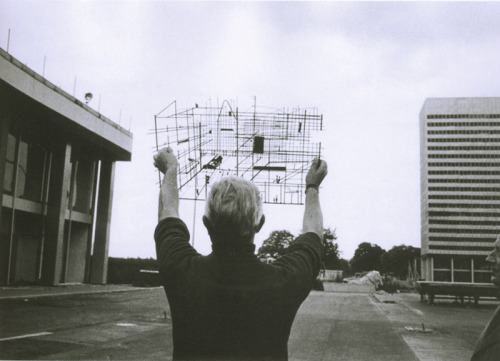 "mazzyfields:  Director Jacques Tati launching into the construction of ""Tativille"" for his film PLAYTIME (1967)."