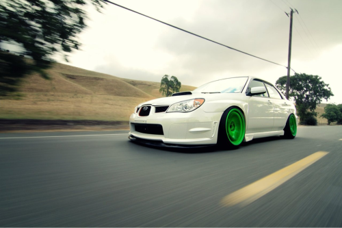 fuckyeahcargasm:  The green monster Featuring: Subaru Impreza WRX STi Sedan