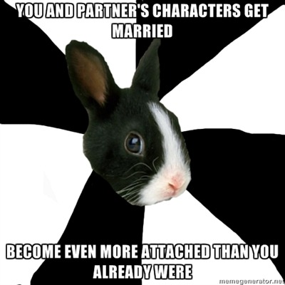 fyeahroleplayingrabbit:  I think I might have a problem. But I can't help it! WE'RE TOO PERFECT.