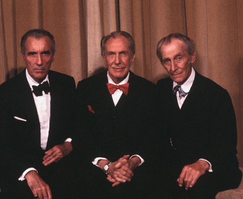 greggorysshocktheater:  The Birthday Boys - Christopher Lee, Vincent Price & Peter Cushing taking a break filming House Of The Long Shadows (1983)