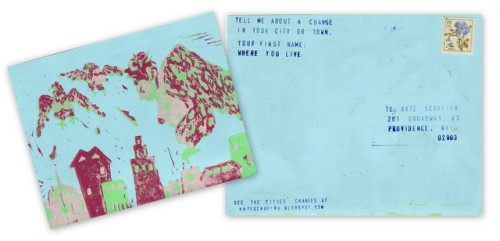 Tell me about a change in your city or town, postcard by Kate Schapira | sent to Providence, Rhode Island, May 2012