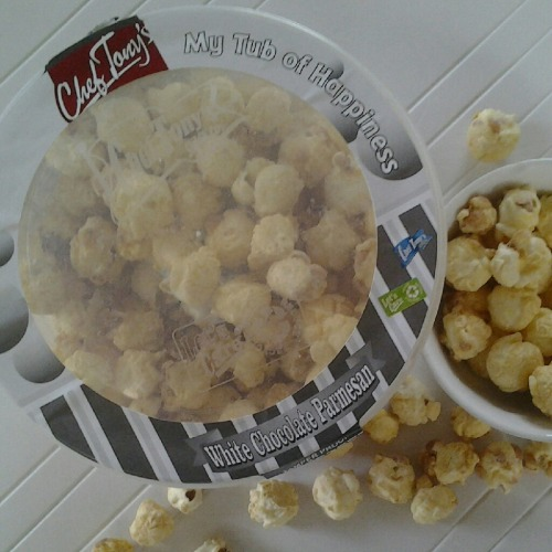 5. White Chocolate and Parmesan popcorn by Chef Tony's  Flavor sounds weird but it works. Nakaka-addict!  If you are a popcorn fan, like sweet-salty combinations, or is feeling adventurous, I recommend you try out Chef Tony's. Just be careful opening the tub. I got my finger cut by a sharp bit while trying to break off the lock. ;-(  Chef Tony's website  (Special thanks to Fri for today's chocolate.)