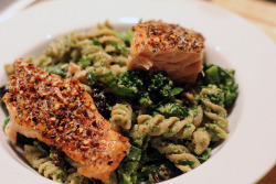Salmon w/Broccoli Pesto & Fusilli Pasta by Three Points Kitchen on Flickr.