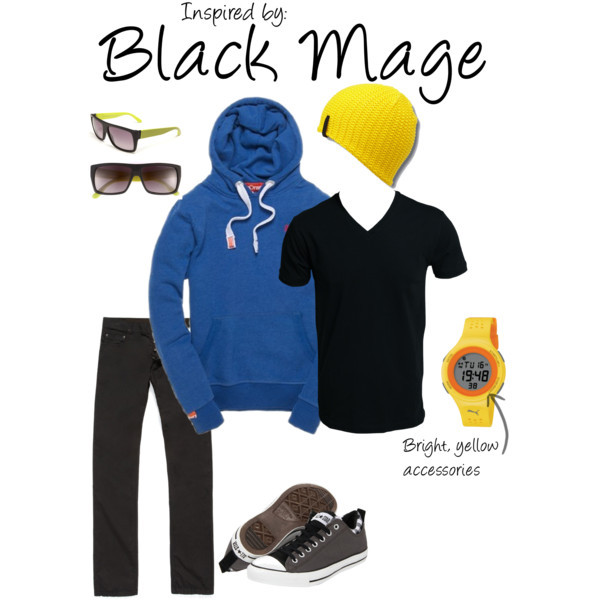 Black Mage (Final Fantasy) by ladysnip3r featuring converse shoes This outfit is inspired by the Black Mage of Final Fantasy. It's such an iconic character with it's blue robe and yellow hat, so I chose to really highlight those features by doing a bright blue sweatshirt and yellow accessories. I chose to do a beanie because it sort of looks like a stylish version of the Mage's hat. I also chose black sunglasses to replicate his covered face. This outfit is perfect for hanging out. (Reference Image) Converse shoes, $55MARC BY MARC JACOBS Retro Sunglasses, $110Superdry Orange Label Hood, $100Faas 200 Watch, $60Selected Homme Gizmo T-Shirt V-Neck, €15Revolve Beanie, $18